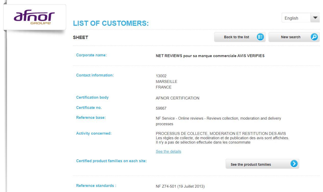 ADIEUcourtier.com AFNOR NF Z74-501 - Net reviews