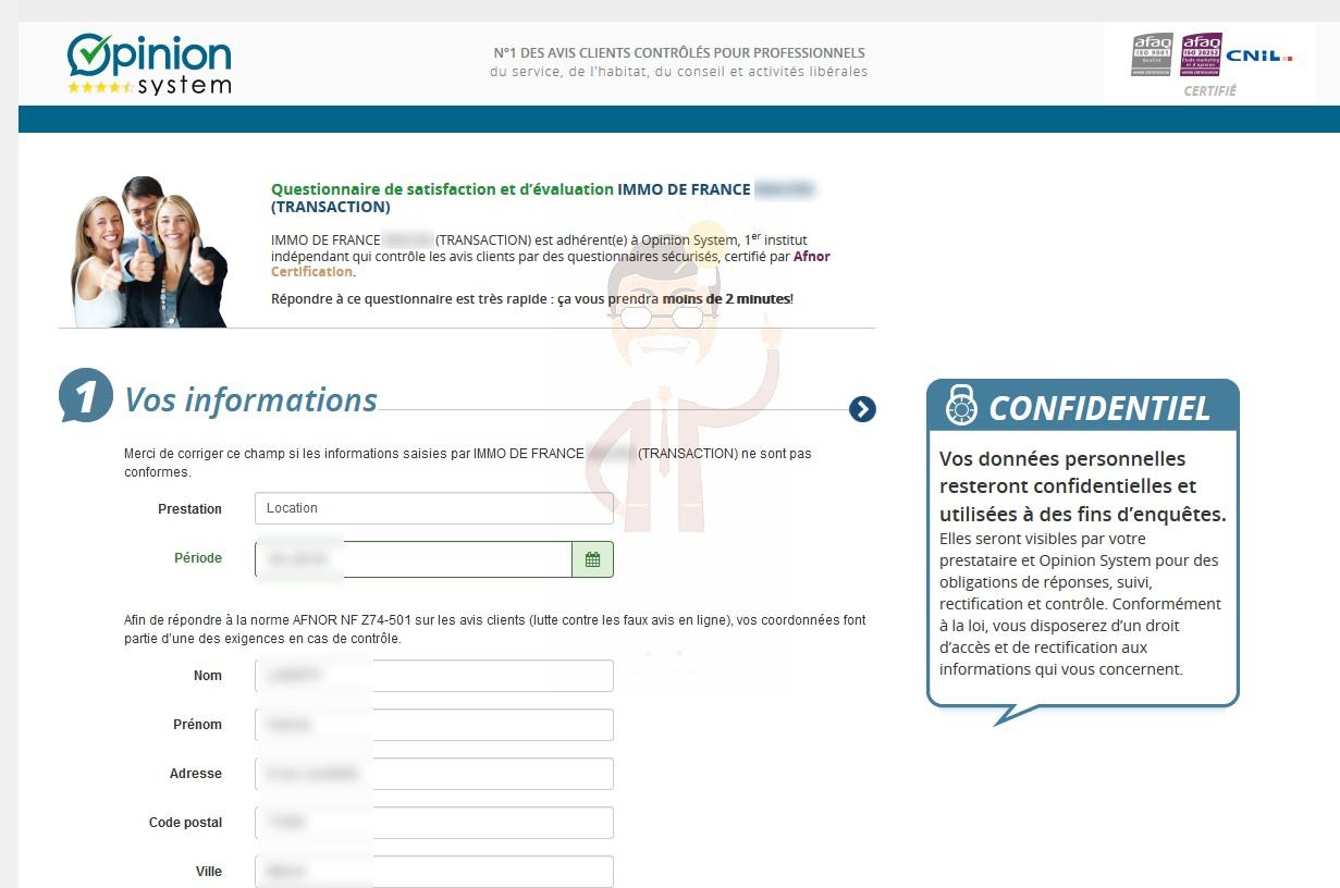 """1. """"Vos informations"""", Opinion System / Success Market en profite pour construire sa propre base de données clients"""