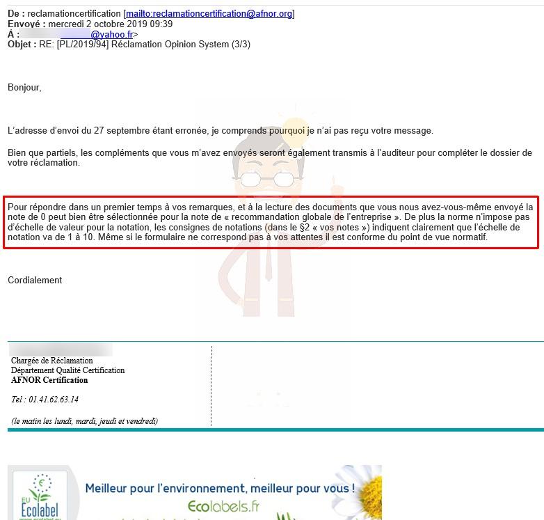 """3. Mais non, """"conforme d'un point de vue normatif"""" nous répond AFNOR Certification !"""